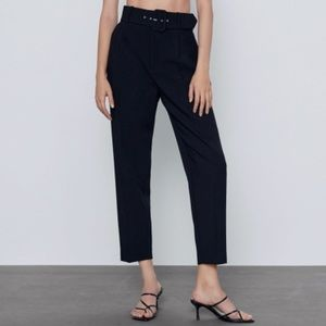 New Zara Belted Trousers / Pants Black S
